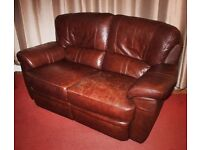 2 Seater Sofa and Armchair in Brown Leather