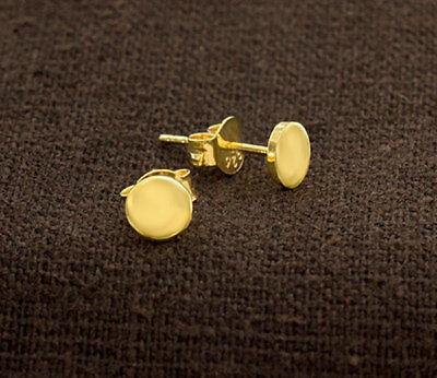 24k Gold Vermeil Style Tiny Circle Disc Stud Earrings 5mm.Polish -