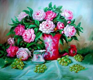 "Origianl Oil Painting on Canvas Fresh Peonies in vase 24""x20"""