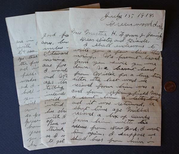 1918 WWI Greenwood Indiana Battlecreek,Michigan Camp Custer content letter!