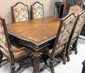 Large Ornate Dining Table with 6 chairs, 2 leafs