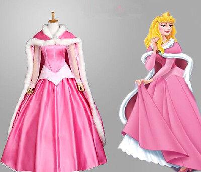Disney Dornröschen Kostüme (Dornröschen Sleeping Beauty Aurora Disney Cosplay Kostüm Abend-kleid lang Umhang)
