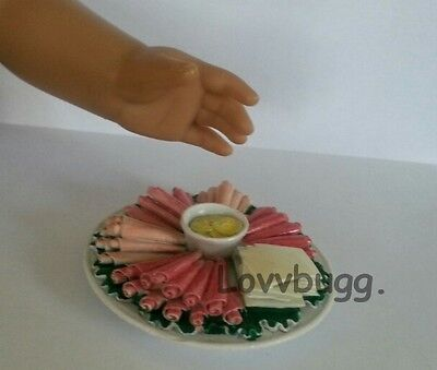 """Lovvbugg Party Tray Cold Cuts Cheese for 18"""" American Girl Doll Food Accessory"""