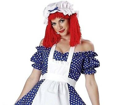Racy Rag Doll Costume Adult Raggedy Ann Halloween Fancy Dress NEW