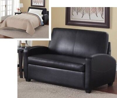 Black Leather Sleeper Loveseat Convertible Twin Bed Mattress Small Space (Contemporary Leather Sleeper Sofas)