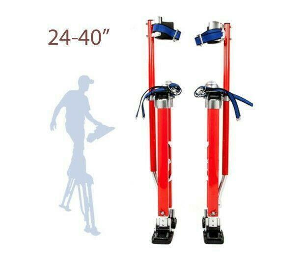 "24""-40"" Adjustable Drywall Stilts Painters Walking Finishing Tools Red US"