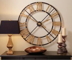 BLACK AND GOLD IRON CLOCK By SPLIT P/LARGE WALL CLOCK