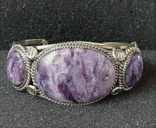 Southwestern Native American Charoite Purple Stone Sterling Silver Cuff Bracelet