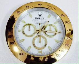 Rolex wall clock, Large metal clock, Gold Daytona white face