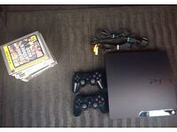 PS3 120GB Slim Model with two Official Dualshock Controllers, 8 Games and all necessary cables
