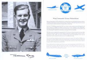SPBB48 WWII WW2 RAF Battle of Britain BoB spitfire pilot photo signed KANE