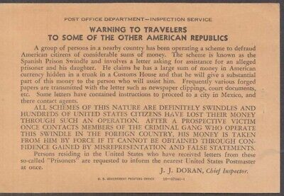 US Post Office Spanish Prison Swindle Warning Card ca 1900 J J Doran, Inspector