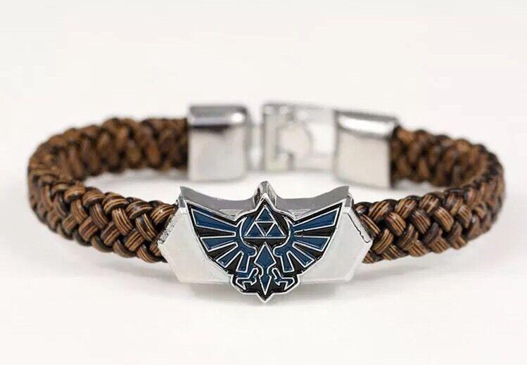 """Legend of Zelda Triforce Leather Bracelet 8"""" Link Anime US Seller"""