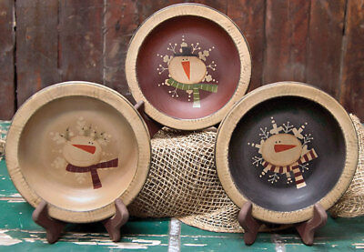 Country Primitive Wooden Snowman Bowls Choice of - Wooden Snowman
