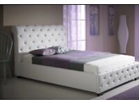 Small double 3/4 princess white leather bed with diamonds and mattress