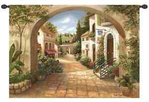 TUSCAN-VILLAGE-ITALY-COBBLESTONE-EUROPEAN-ARCHWAY-ART-TAPESTRY-WALL-HANGING-LRG