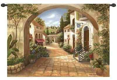 TUSCAN VILLAGE ITALY COURTYARD EUROPEAN ARCHWAY ART TAPESTRY WALL HANGING 70x50