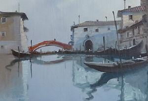 "Vintage Venice Cityscape Oil On Canvas Signed 28"" X 36"" Gatineau Ottawa / Gatineau Area image 2"