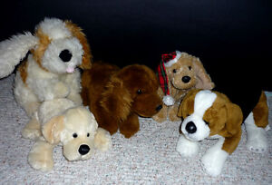 5 Dogs .. stuffies ... Clean, Smoke Free, As shown, ExcCond