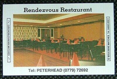 Matchbox label Bouldens Rendez Vous Restaurant Peterhead Aberdeenshire MM43