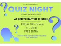 FREE QUIZ NIGHT AT BRISTO BAPTIST CHURCH
