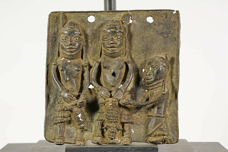"""Small Benin Bronze Plaque 9"""" - Nigeria - African Art"""