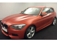 Orange BMW 118d M Sport 3 door 2.0 Leather 74MPG FROM £36 PER WEEK!