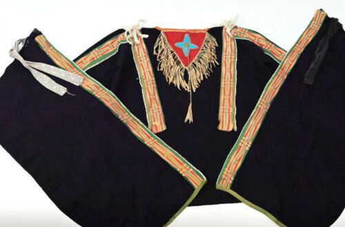 Antique Osage Shirt and Leggings late 19th century Bead - Quill - Ribbon Work