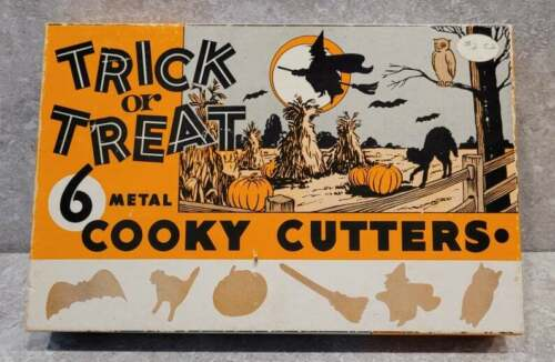 Vtg Halloween Cooky Cookie Cutters Set Witch Bat Ghost Owl Cat Broom FREEUSHIP