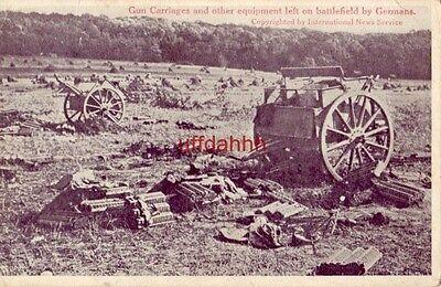 German Gun Carriages   Equipment Left On Battlefield Cpyrt Intl News Service