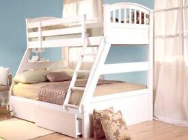 White wooden triple sleeper bunk bed