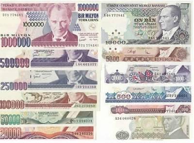 TURKEY 7.th EMISSION 1982-2002 AUNC / UNC SET 12 PCS - 10 TO 1.000.000 TL