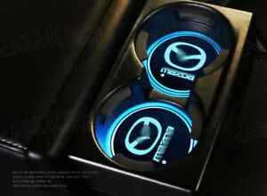 Colorful LED Car Cup Holder Pad Mat for Mazda Auto Interior Atmosphere Lights