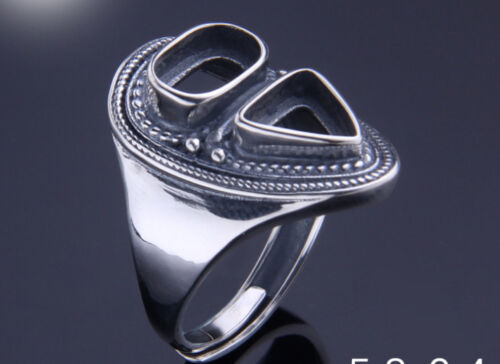 5.8*9.4mm 925 STERLING SILVER mens  Blanks Pad ring Setting Jewelry gift P2506