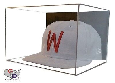 (ACRYLIC WALL MOUNT HAT CAP DISPLAY CASE UV HOLDER NFL NCAA MLB NBA NHL  A)