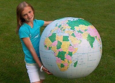 """36"""" Inflatable Light Blue Political Earth Globe  - Earthball - Beach Ball"""