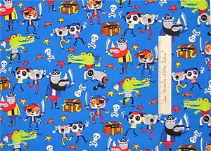 Fabric pirate animal panda koala rhino kids blue timeless for Kids pirate fabric