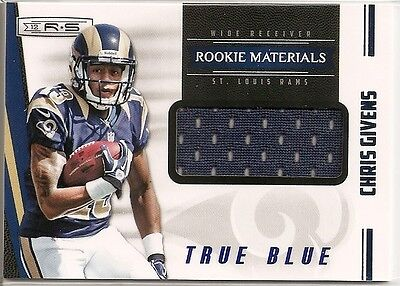CHRIS GIVENS TRUE BLUE ROOKIE MATERIAL JERSEY #001/399 ST. LOUIS RAMS RARE RC - Louis Rams Jersey Material