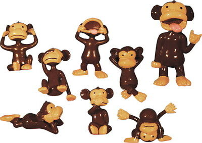 25 TINY PLASTIC MONKEY FIGURES CUPCAKE TOPPERS SMALL PARTY FAVOR MONKEYIN AROUND