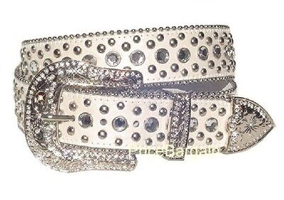 New Western Rhinestone Bling Crystal Stud Snap On Buckle White Leather Belt L
