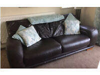 Brown leather sofa plus arm chair