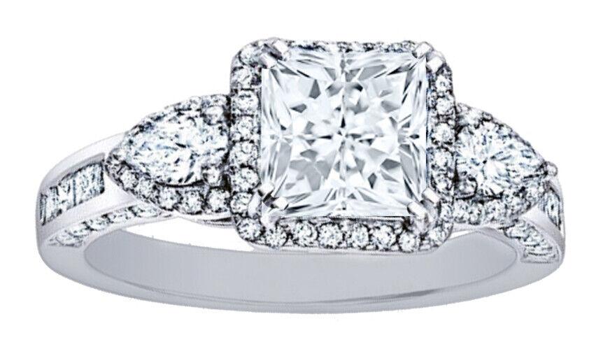 GIA Certified Diamond 3 Stone Engagement Ring 3.51 CT Princess Cut Platinum