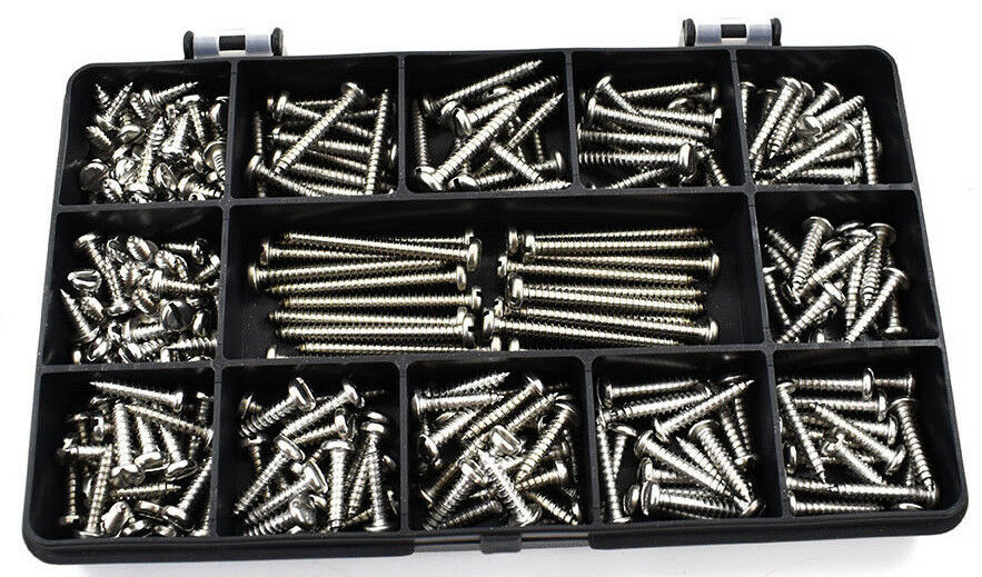 2050 ASSORTED STAINLESS STEEL 4g A4 MARINE SLOT PAN HEAD SELF TAPPING SCREW KIT