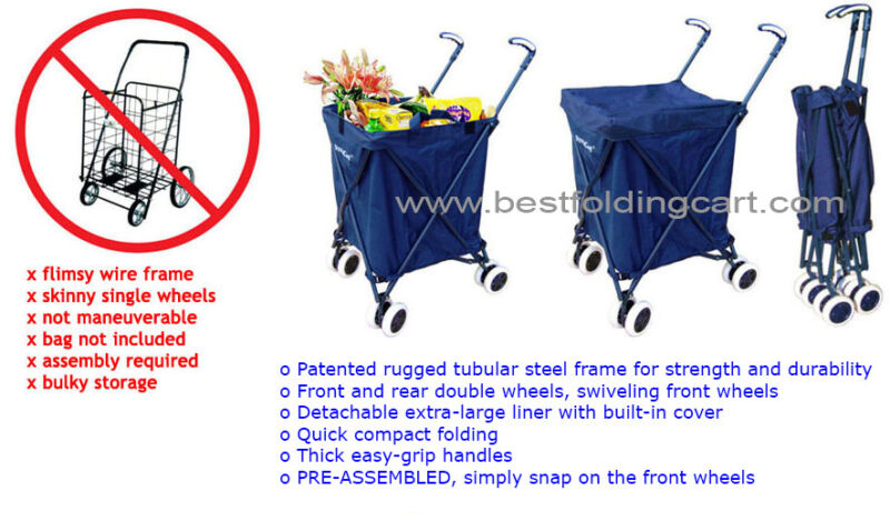 The Original Patented Versacart Transit Folding Shopping and Utility Cart, Navy