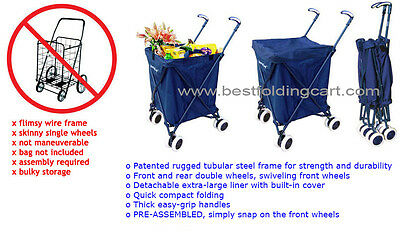 The Original Patented Versacart Transit Folding Shopping and Utility Cart, Navy