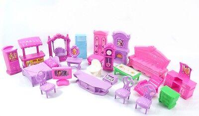 Plastic Furniture Doll House Family Christmas Xmas Toy Set for Kid Children HW