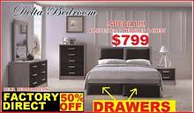 Queen NEW Bedroom Suite Bed With Drawers, Tallboy, Bedsides DELTA Sumner Brisbane South West Preview