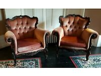 A PAIR OF FRENCH ANTIQUE OAK AND FABRIC ARMCHAIRS IN NICE PRE-LOVED CONDITION FREE DELIVERY