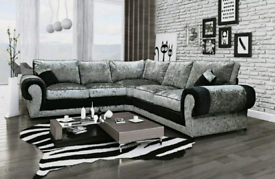 5 Seater Tango Crush Velvet Corner Sofa With Full Back Cushions