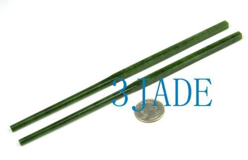 One Pair of Natural Green Nephrite Jade Chopsticks / Gemstone Stone Sticks